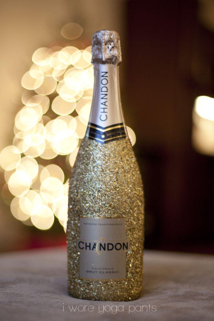 Glitter champagne bottle champagne pinterest for How to glitter wine bottles