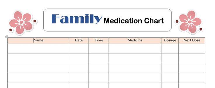 Free Printables: Family Medication Chart | Printables | Pinterest