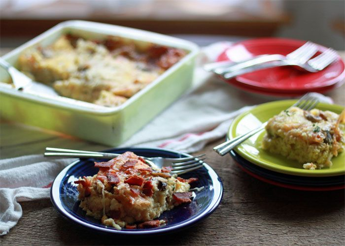 Mushroom and Swiss Breakfast Strata with Optional Bacon | Kitchen ...