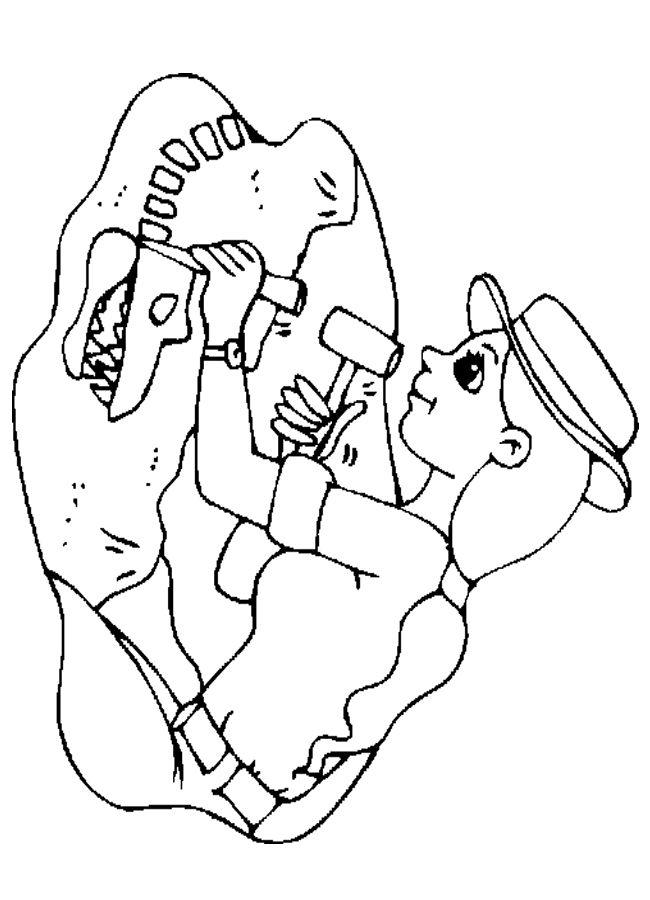 Paleontologist Coloring Sheet Child Education Pinterest