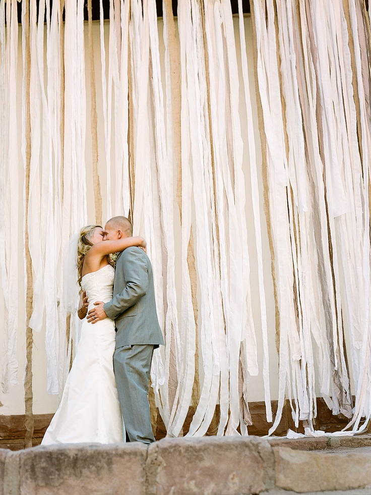 Ribbon backdrop at our wedding | Party Ideas | Pinterest