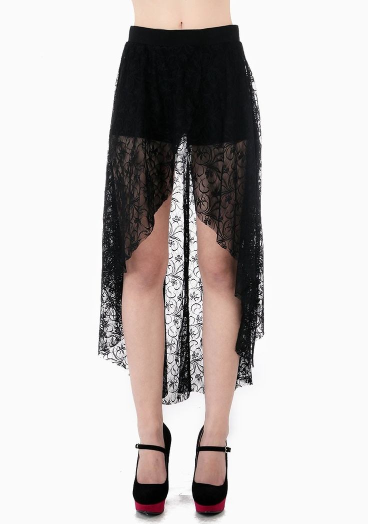black high low floral lace skirt bottoms