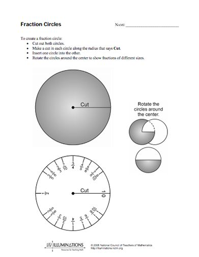 Here's a set of interlocking fraction circles for demonstrating a ...