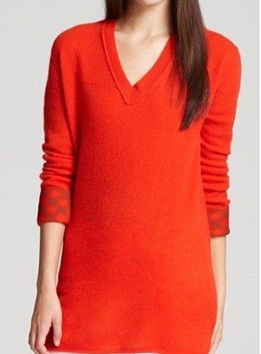 Orange V Neck Sweater Women'S 87