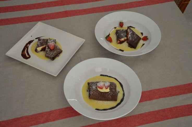Mascarpone Crepes with White Chocolate Sauce & Balsamic Strawberries ...