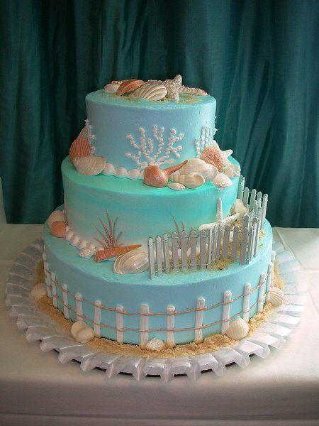 blue beach wedding cake Wedding ideas Pinterest