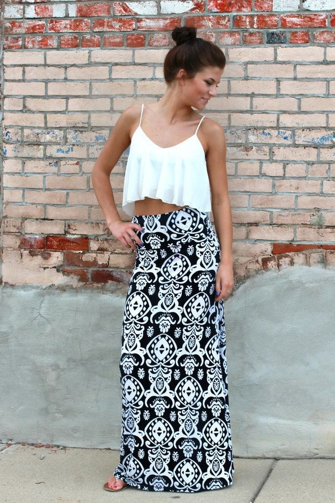 Printed maxi + crop top