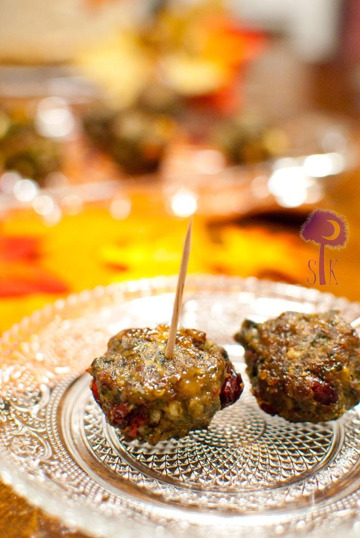 citrus-scented feta-infused cranberry- quinoa- turkey sausage balls!