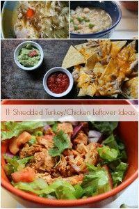 11 Shredded Turkey/Chicken Leftover Ideas Collage