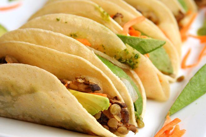 shitake mushroom and lentil asian tacos
