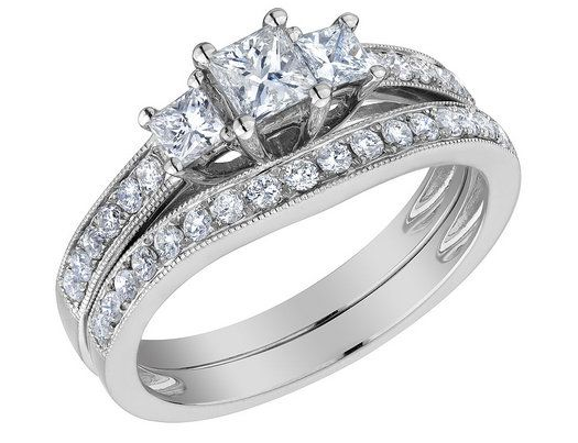 Three Stone Princess Cut Diamond Engagement Ring  Wedding Band Set 1 ...