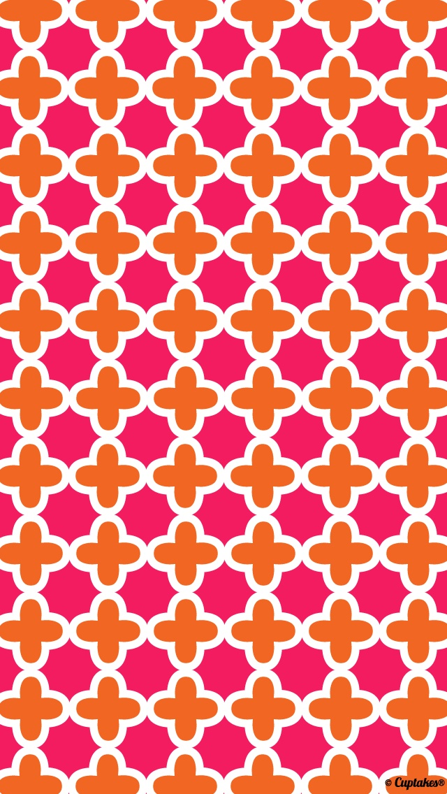 Orange and pink cross pattern? | Cuptakes wallpapers for girly girls …