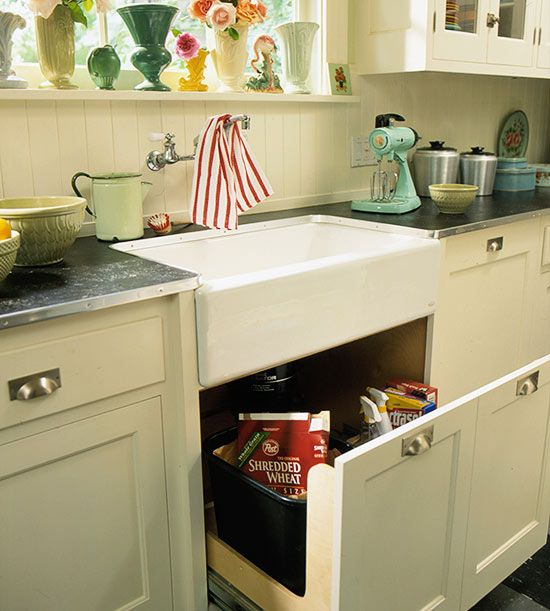 Farmhouse Style Sink Kitchen : Cottage-Style Farmhouse Sink. Havent seen a drawer below the sink ...