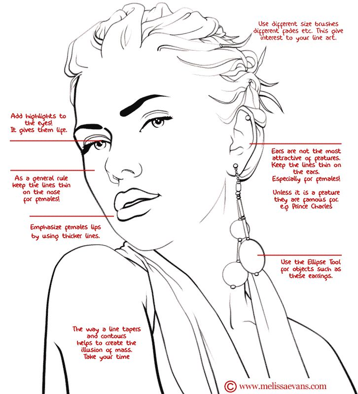 Line Art Drawing Tutorial : Turn photos of people into line art drawing reference