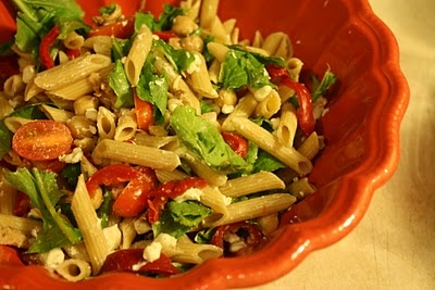Multi-grain Pasta Salad with Grilled Chicken, Goat Cheese, & Arugula