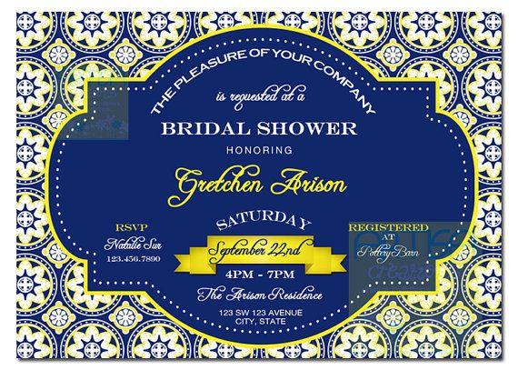 navy blue fantasy bridal shower invitations