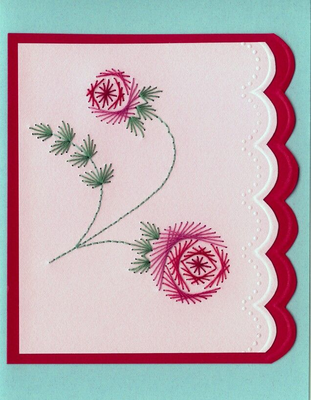 Hand embroidered card cardmaking pinterest