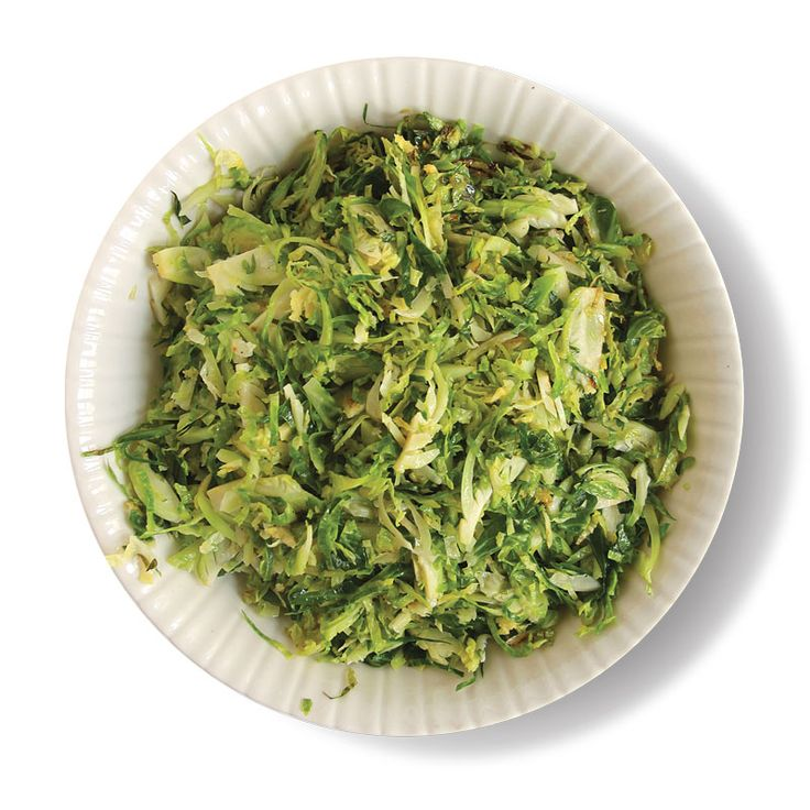 Trim Brussels sprouts, halve lengthwise, thinly slice crosswise. Saute ...
