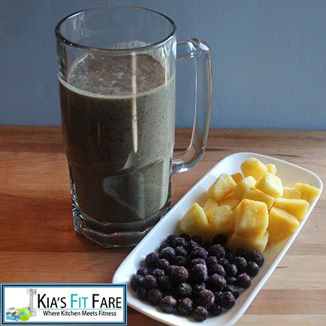 Pineapple and Blueberry Cream Greens Smoothie