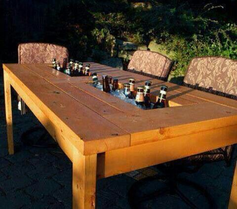 Outdoor pinic table with built in ice chest