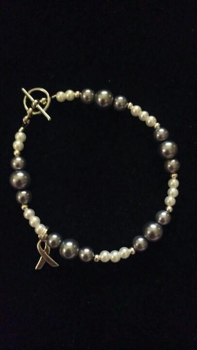Handmade brain cancer awareness bracelet
