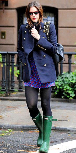 military peacoat, short dress, tights and rain boots