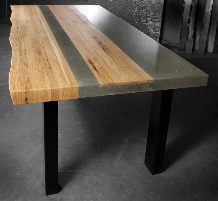 Concrete wood steel dining kitchen table for Wood and metal kitchen table