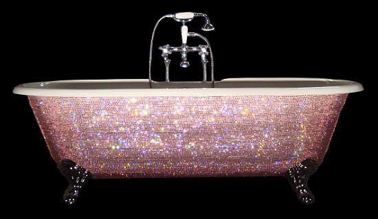 INSANITY - Swarovski crystals on a clawfoot tub.
