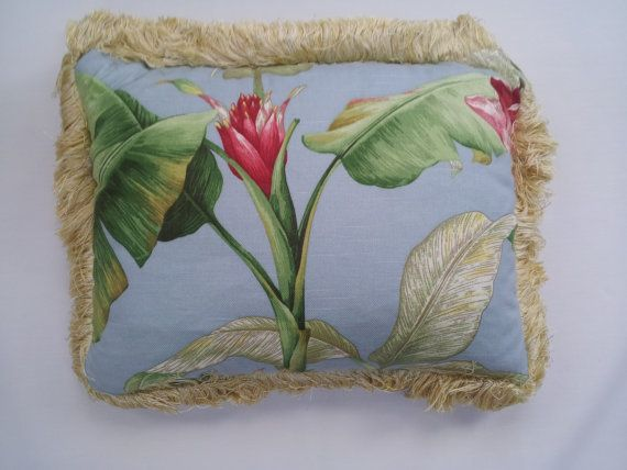 Tropical flower upcycled throw pillow by PillowsbyCurtainCall, $19.95