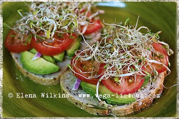 Avocado, tomato, and sprout sandwich