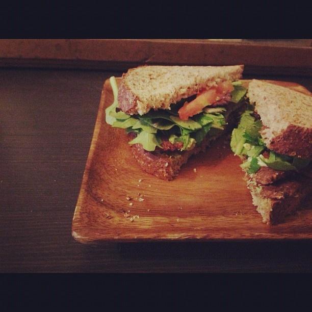 tlt sandwich: baked tempeh, avocado, tomato, and lettuce on gluten ...