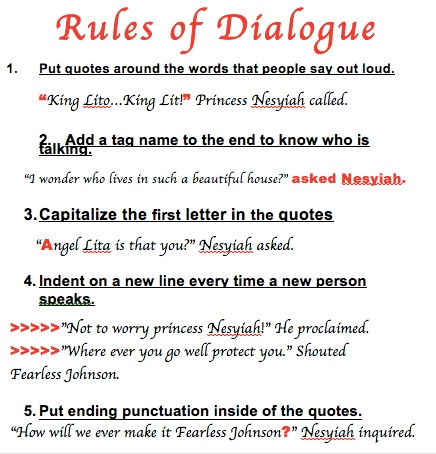 rules for writing dialogue in a story Check out these top tips and exercises from reedsy bookeditor writing contests short story ideas book review writing dialogue: tips and exercises that will.