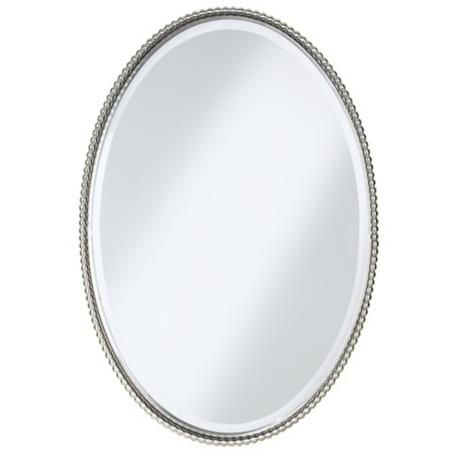 Uttermost Brushed Nickel Sherise Oval 32 High Wall Mirror