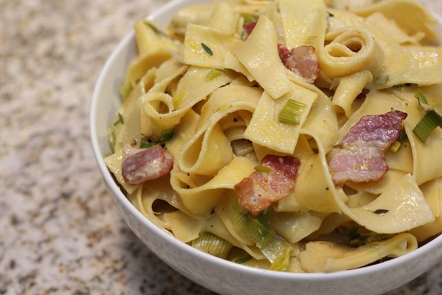 Creamy Pappardelle with Leeks and Bacon | Cosmopolitan Comfort Recipe ...