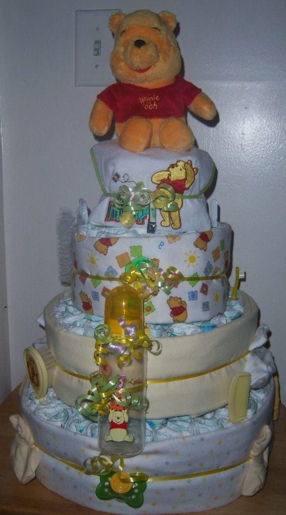 winnie the pooh baby shower 4 tier diaper cake via etsy