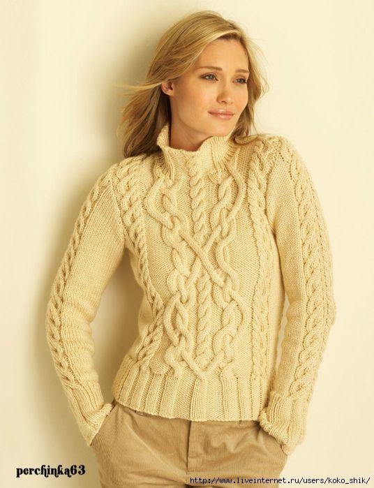 Вязание свитера с узором от горловины