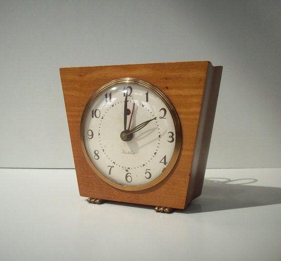 vintage desk clock electric westclox wood mid century modern