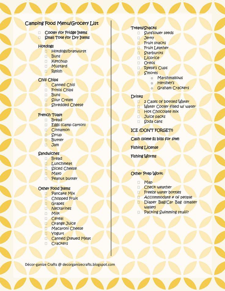 Camping Food... checklists