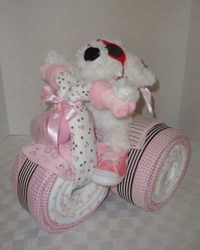 Diaper cake tricycle trike motorcycle baby shower gift centerpiece in
