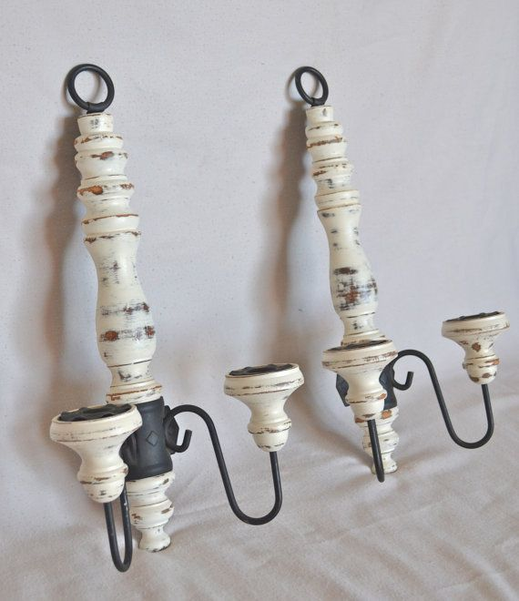Wall Candle Sconces Etsy : Wall sconces candle holders. LOVE! Shabby chic vintage : ) etsy.com/shop/ShabbyChicLife