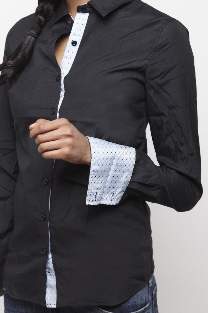 Women 39 s black french cuff dress shirt silk contrast for Womens cuff link shirts