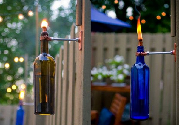 Very cool #recycle #reuse idea: recycled wine bottle torch! #DIY #Crafts