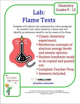 chemistry flame test lab Flame test lab procedure materials & equipment safety goggles gloves beakers, 250-ml, 2 matches weighing dishes, 6 wooden splints soaked in water, 6.