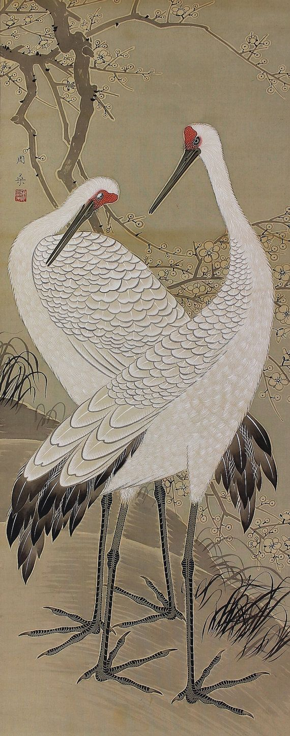 Antique / Vintage Japanese Fine Art Painting Crane in Japanese White Plum Blossoms Hanging Scroll -1405003