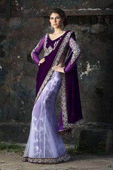Georgette velvet with net kali saree, in zardosi and dori work. Petticoat with all over thread work.