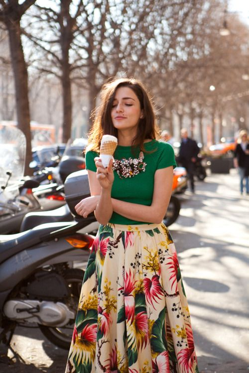 green top + floral full skirt