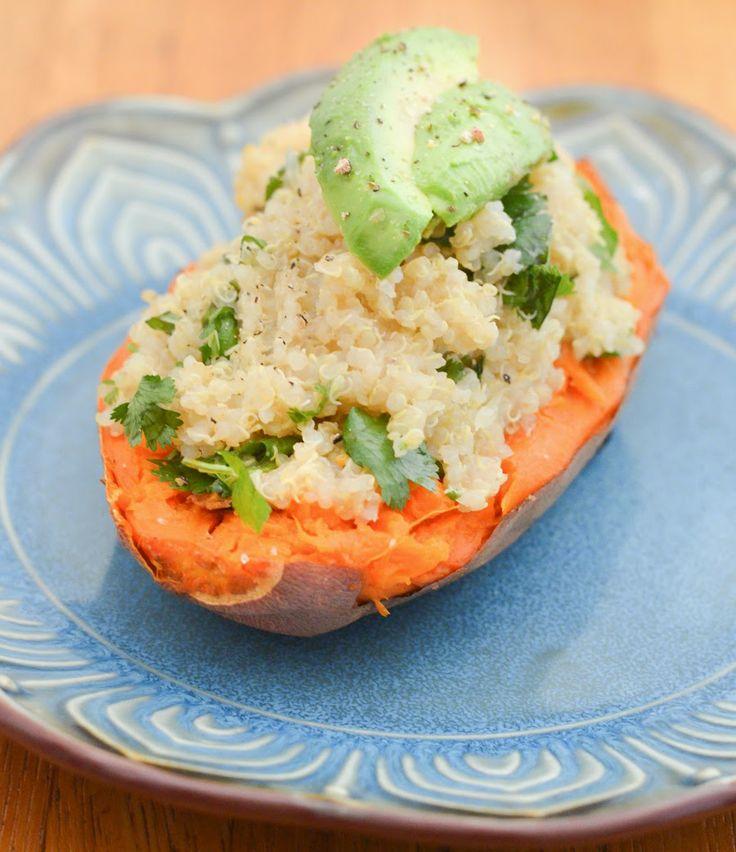 Lime + Cilantro Quinoa-Stuffed Sweet Potatoes - sub agave for the ...
