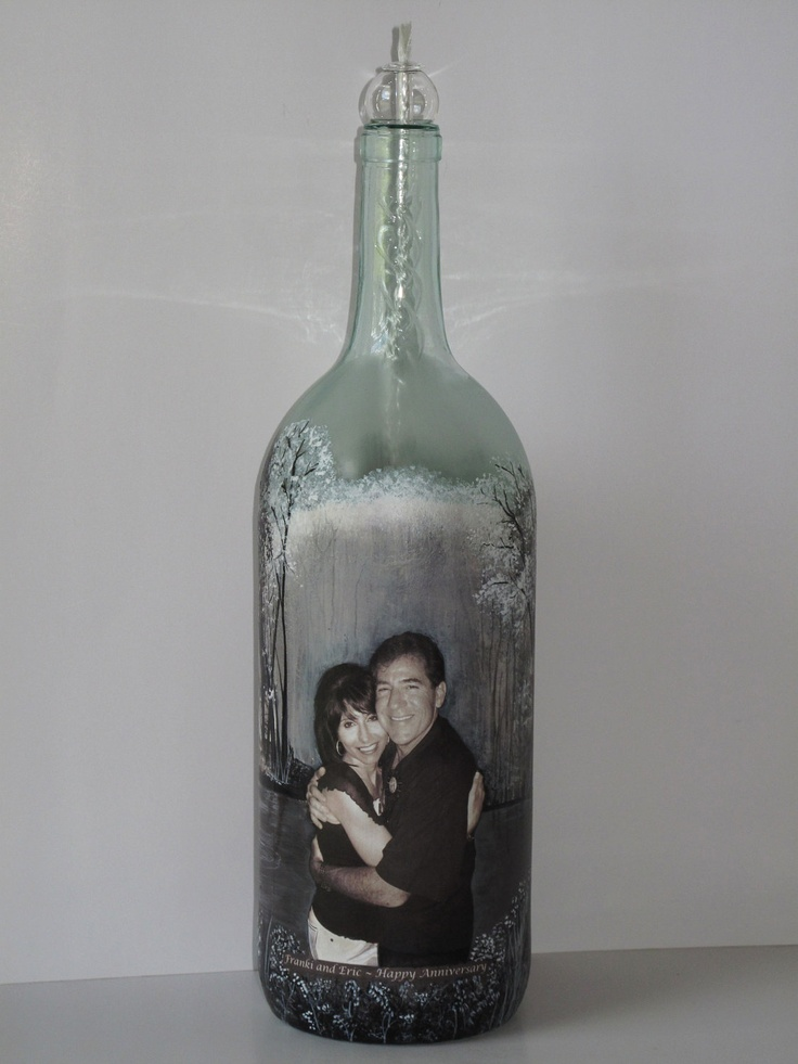 Personalized Wine Bottles For Wedding Gift : ... Custom Hand Painted Wine Bottle, Candle Holder, Wedding Gift for Bride