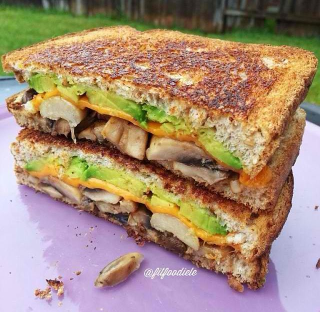 cheddar almond cheese, portobello mushroom and avocado sandwich ...
