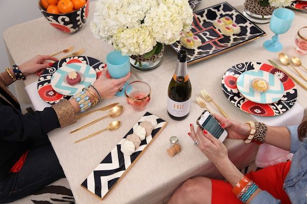 Cupcakes and Champagne. Love the mix of prints and bold use of color